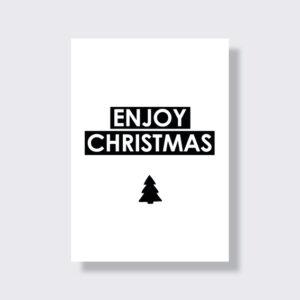 Trendy Schwarz Weiss Weihnachtskarte moodz Design Enjoy Christmas