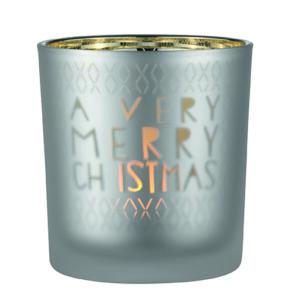 Teelichthalter Glas A very merry Christmas Räder