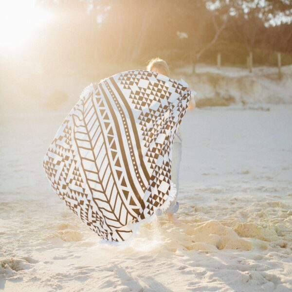 Beach Roundie Strandlaken Schwarz Weiss The Aztec The Beach People