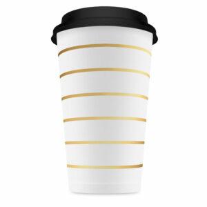 Coffee to go Becher Gold gestreift Villa Madelief