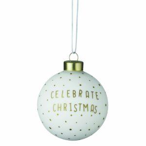 Weihnachtskugel Räder Celebrate Christmas Weiss Gold