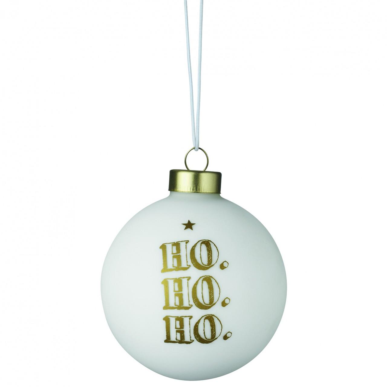 Räder Weihnachtskugeln.Räder Weihnachtskugel Ho Ho Ho Weiss Gold