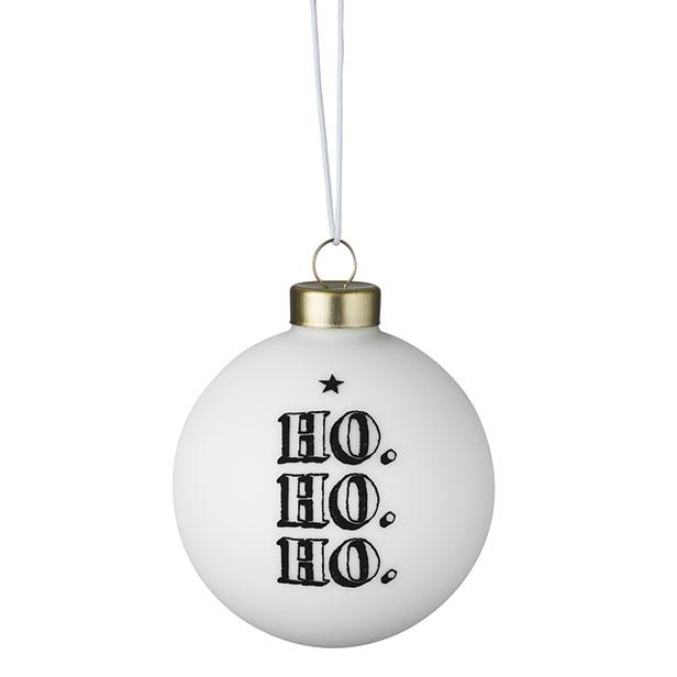 Räder Weihnachtskugeln.Räder Weihnachtskugel Ho Ho Ho Weiss Schwarz