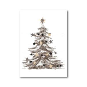 Weihnachtskarte/Poster Weihnachtsbaum mit Sternen