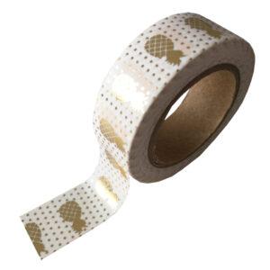 Masking Tape Weiss mit Ananas goldglänzend