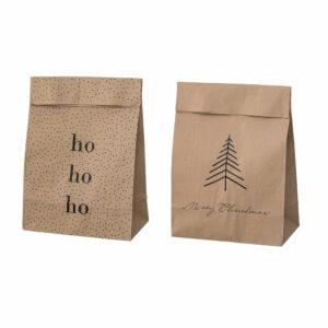 Paperbags Kraftpapier Merry Christmas 2er Set