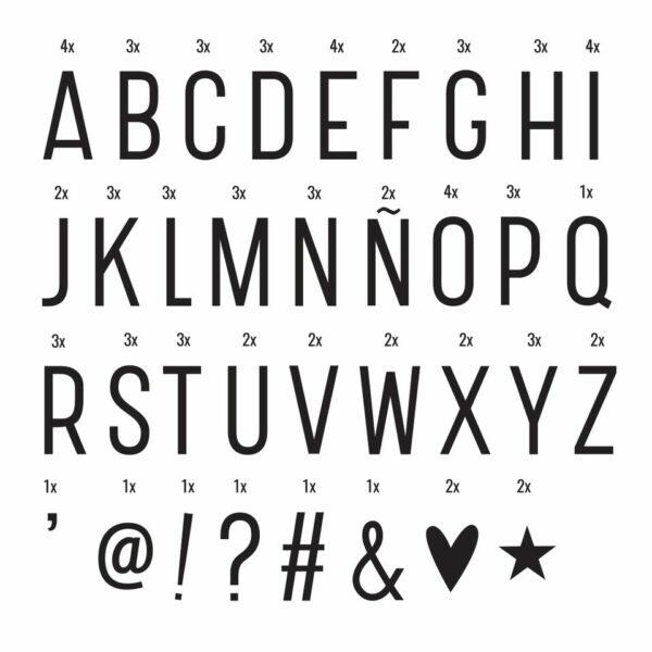 Buchstaben/Symbolen Set für Lightbox A Little Lovely Company