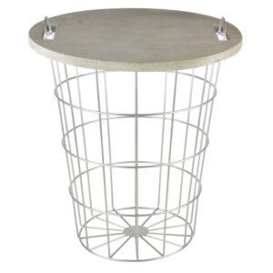 Drahtkorb Tisch Holz Metall Villa Madelief