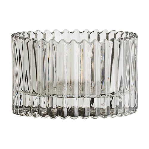 Windlicht Glas geribbeld Grau Bloomingville Villa Madelief