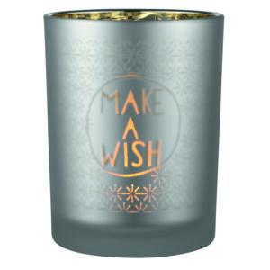 Teelichthalter Glas Make a wish