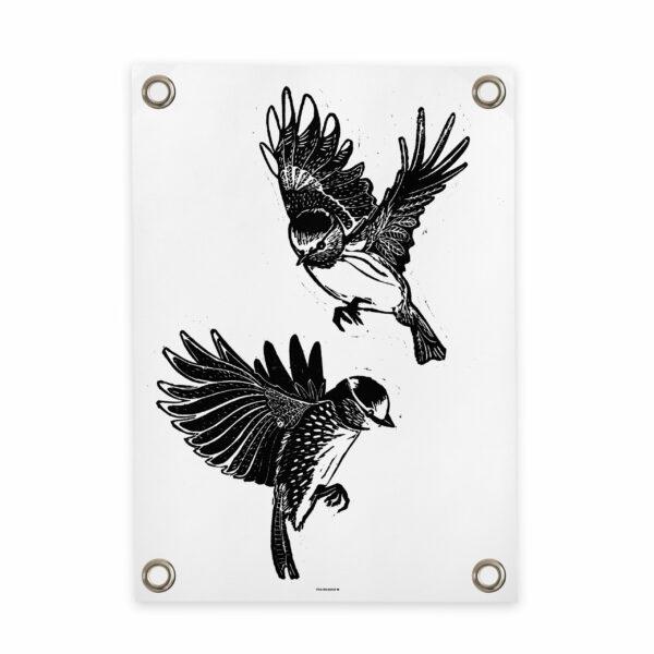 Tuinposter vogels wit zwart Villa Madelief